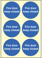 6 x Fire Door Keep Closed Photoluminescent Labels - 65mm Diameter