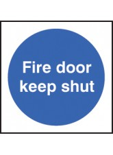 100 x Fire Door Keep Shut Labels - 100 x 100mm