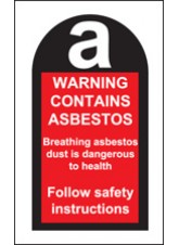 100 x Contains Asbestos Labels 27x50mm