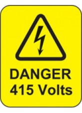 100 x Danger 415 Volts Labels - 40 x 50mm