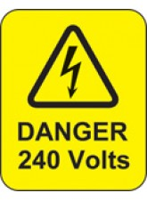 100 x Danger 240 Volts Labels - 40 x 50mm