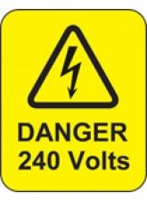 Danger 240 Volts Labels
