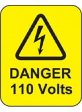 100 x Danger 110 Volts Labels - 40 x 50mm