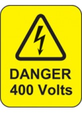 100 x Danger 400 Volts Labels - 40 x 50mm