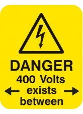 100 x Danger 400 Volts <-exists Between-> Labels - 40 x 50mm