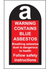 100 x Contains Blue Asbestos Labels 27 x 50mm