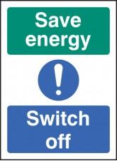 Self Adhesive Vinyl Energy Switch Off