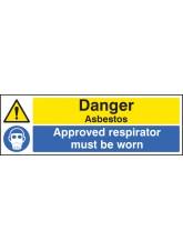 Danger Asbestos Approved Respirator Must be Worn