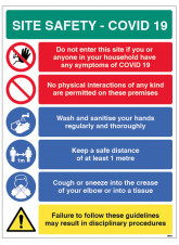 Coronavirus Site Safety Board with 6 Messages - 1m / 2m / Generic Distance Options